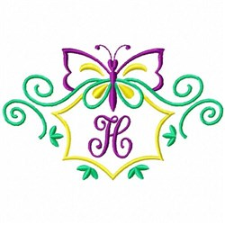 Monogram Butterfly H embroidery design