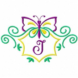 Monogram Butterfly J embroidery design
