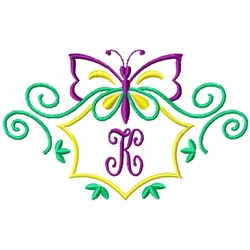 Monogram Butterfly K embroidery design