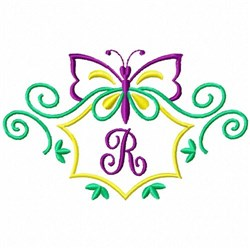 Monogram Butterfly  R embroidery design