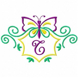 Monogram Butterfly  T embroidery design