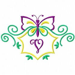 Monogram Butterfly V embroidery design