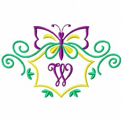 Monogram Butterfly  W embroidery design