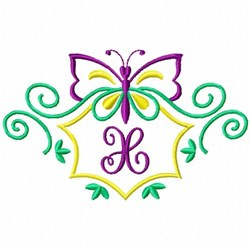 Monogram Butterfly X embroidery design