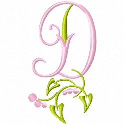 Monogram Floral D embroidery design