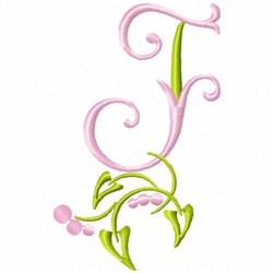 Monogram Floral F embroidery design