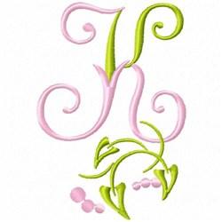 Monogram Floral K embroidery design