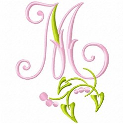 Monogram Floral M embroidery design