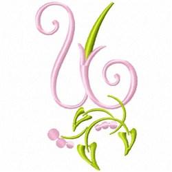 Monogram Floral U embroidery design