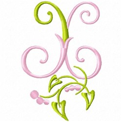 Monogram Floral X embroidery design