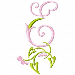 Monogram Floral E embroidery design
