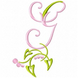 Monogram Floral G embroidery design
