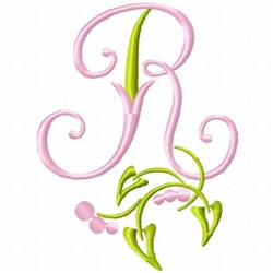Monogram Floral R embroidery design