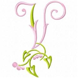 Monogram Floral V embroidery design