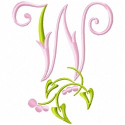 Monogram Floral W embroidery design