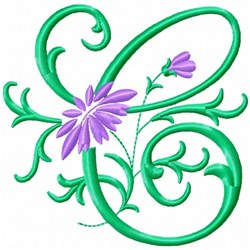 Monogram Flower C embroidery design