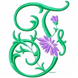Monogram Flower F embroidery design