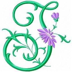Monogram Flower J embroidery design
