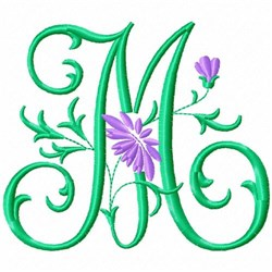 Monogram Flower M embroidery design