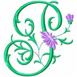 Monogram Flower P embroidery design