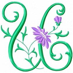 Monogram Flower U embroidery design