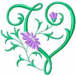 Monogram Flower V embroidery design