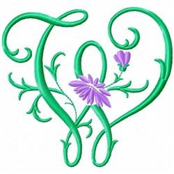 Monogram Flower W embroidery design