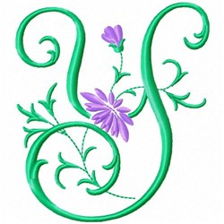 Monogram Flower Y embroidery design