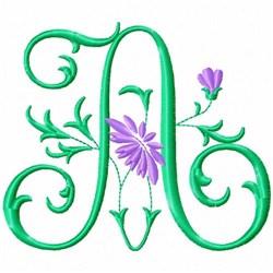 Monogram Flower A embroidery design