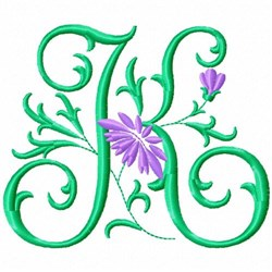 Monogram Flower K embroidery design