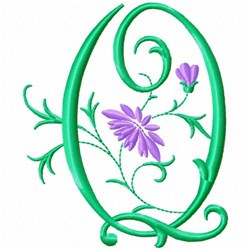 Monogram Flower Q embroidery design