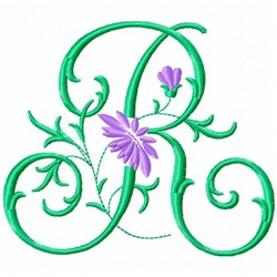 Monogram Flower R embroidery design