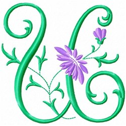 Monogram Flower U embroidery design