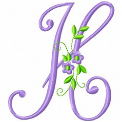 Monogram Flower H embroidery design