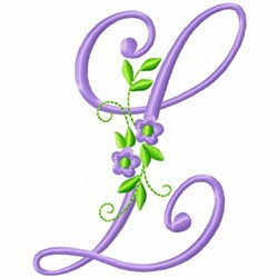Monogram Flower L embroidery design