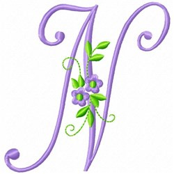 Monogram Flower N embroidery design