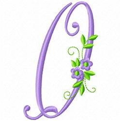 Monogram Flower Q embroidery design