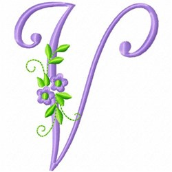 Monogram Flower V embroidery design