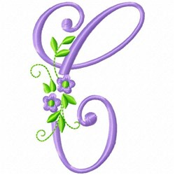 Monogram Flower C embroidery design