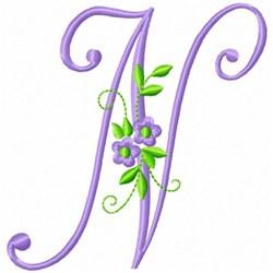 Monogram Flower N embroidery design