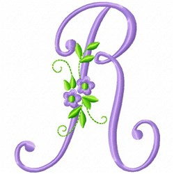 Monogram Flower R embroidery design