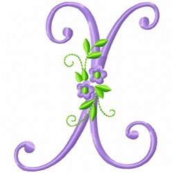 Monogram Flower X embroidery design