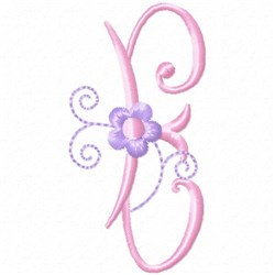 Monogram Floret E embroidery design