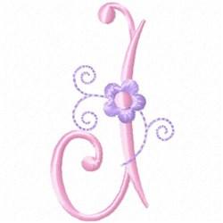 Monogram Floret J embroidery design