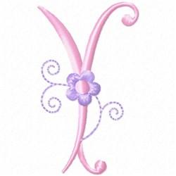 Monogram Floret Y embroidery design
