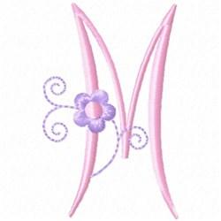Monogram Floret M embroidery design