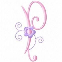 Monogram Floret P embroidery design