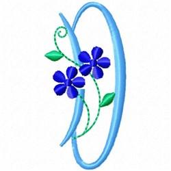 Monogram Blossom D embroidery design