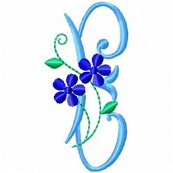 Monogram Blossom E embroidery design