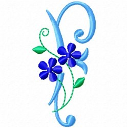 Monogram Blossom F embroidery design
